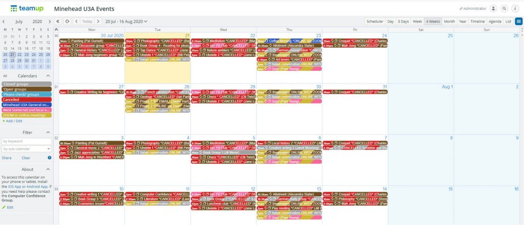 Windows display of the Calendar showing 4 weeks