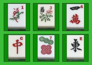 image shows a selection of Mah jong tiles
