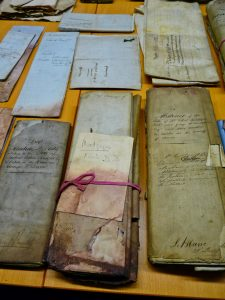 Old documents on a table