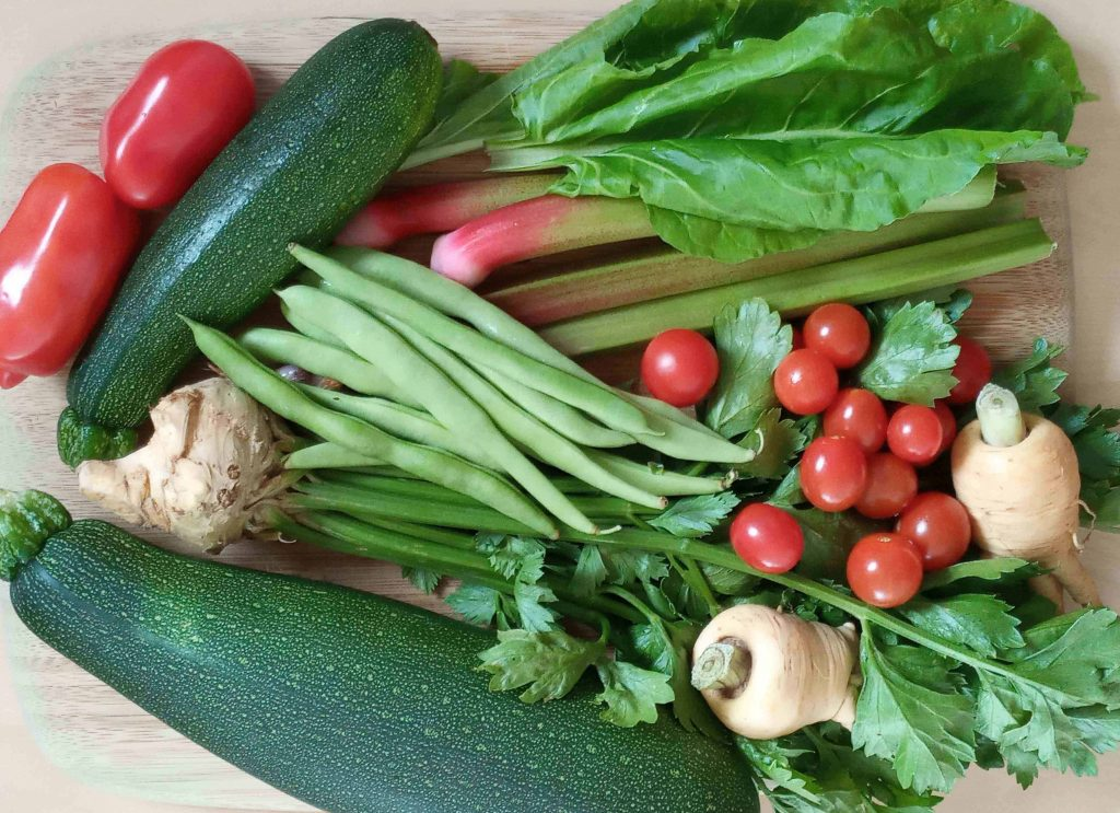 Images shows a collection of vegetables from the allotment