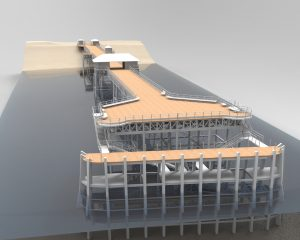 Image shows a 3 dimensional model of Minehead Pier