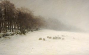 Wintry scene with fog and sheep