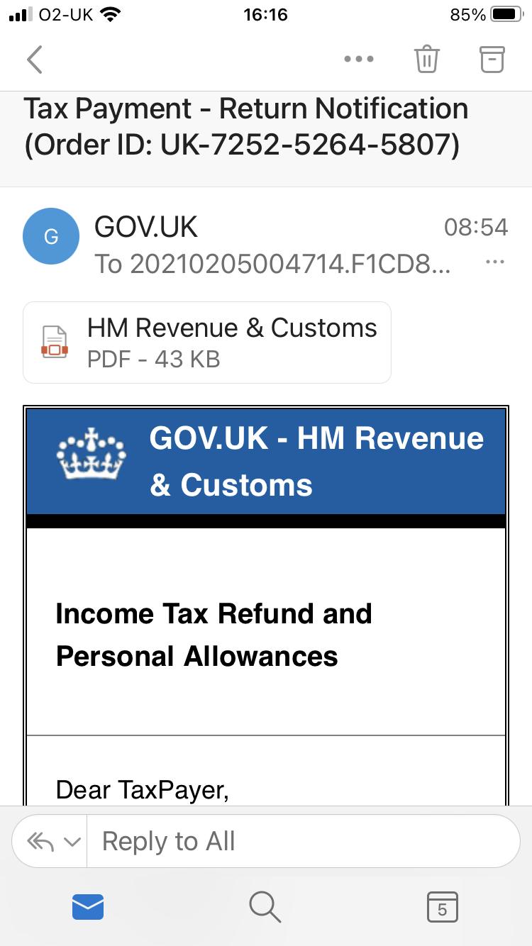 Scam tax refund email