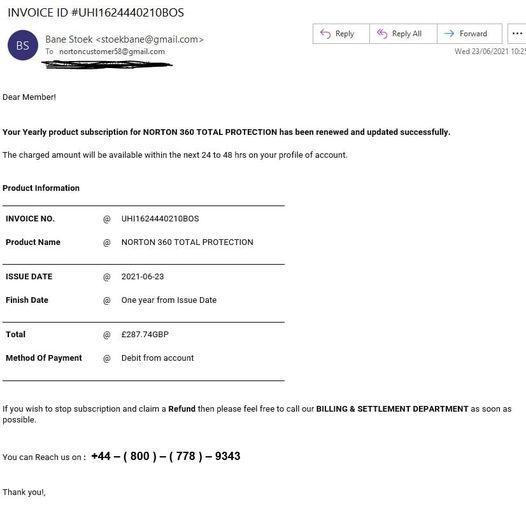 Norton fake invoice